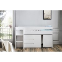 Kids Single Loft Bed with Desk and Storage in White
