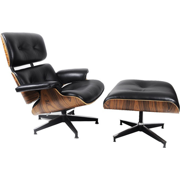 Replica Eames Chair and Ottoman in Bonded Leather