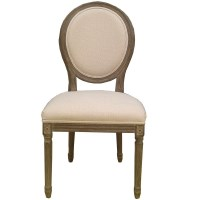 Louis XVI Whitewash Round Upholstered Dining Chair