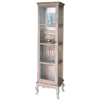 Cherilyn Whitewash Glass Wood Display Cabinet Case