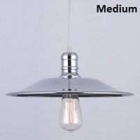 Medium Chrome Dish Shade Hanging Pendant Light