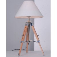 Contemporary Wooden Tripod Table Lamp w White Shade