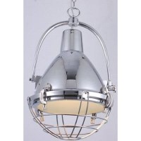 Vintage Industrial Metal Pendant Light Chrome 70cm