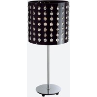 Chrome Metal Table Lamp w Black Shade & Crystals
