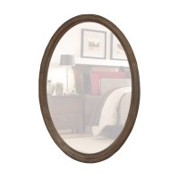 Decorative Wood Frame Oval Wall Mirror White Wash
