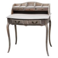 Louis XV Wooden Study Desk w/ Drawers in Wash White