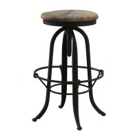Bowl Brace Wood & Wrought Iron Industrial Bar Stool