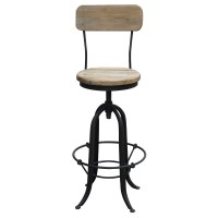 Elm Wood & Wrought Iron Industrial Bar Stool Black