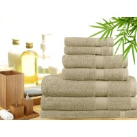 7 Piece Bamboo Cotton Bath Towel Set in Linen
