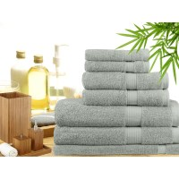 7 Piece Bamboo Cotton Bath Towel Set in Silver
