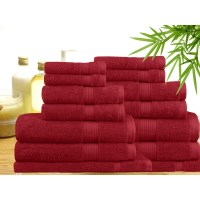 14 Piece Bamboo Cotton Bath Towel Set in Red