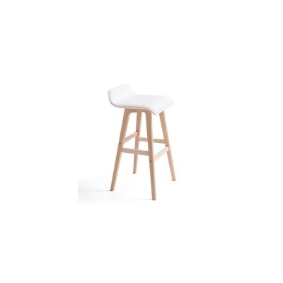 2x S Curve PU Leather Wood Bar Stool in White 65cm