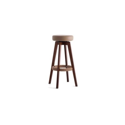 2x Circle PU Leather Swivel Bar Stool Brown 74cm