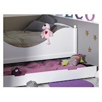 Kid's Single Full Trundle Bed Drawer in Satin White