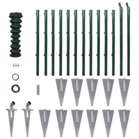 Green Wire Mesh Fence w Posts & Spike Anchors 1x25m