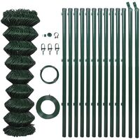 Green Chain Wire Fence w Posts & Hardware 1.25x25m