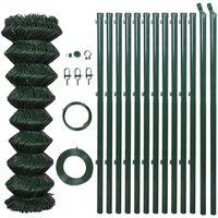 Green Chain Wire Fence w Posts & Hardware 0.8x25m