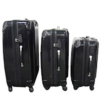3 Piece 4 Wheel Spinner Hard Luggage Set in Black