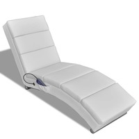 Electric Heated Massage Chair Lounge w Remote White