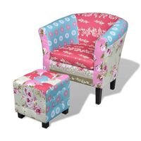 Round Tub Floral Patchwork Armchair w/ Foot Stool