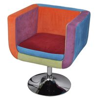 Tub Cube Gas Lift Patchwork Armchair w/ Chrome Base