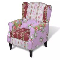 Wing Back Fabric Armchair Lounge Floral Patchwork