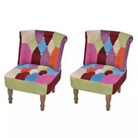 2x Multicoloured Patchwork Occasional Lounge Chairs