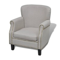 Fabric Lounge Armchair w/ Studded Trim in Grey