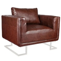 Tub Cube Faux Leather Armchair w/ Chrome Feet Brown