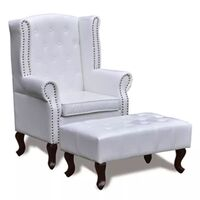 PVC Leather Wingback Armchair w/ Ottoman in White