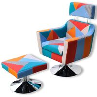 TV Fabric Armchair Lounge w/ Ottoman in Patchwork