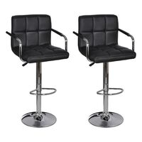 2x Grid Faux Leather Bar Stools w/ Armrests Black