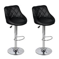 2x Pod Faux Leather Gas Lift Bar Stools in Black