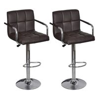 2x Grid Faux Leather Bar Stools w/ Armrests Brown