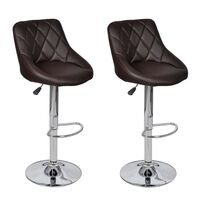 2x Pod Faux Leather Gas Lift Bar Stools in Brown