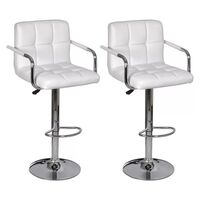 2x Grid Faux Leather Bar Stools w/ Armrests White