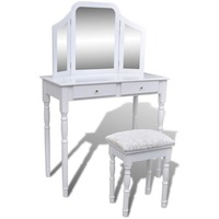 Dressing Table w/ Folding Mirror & Stool in White