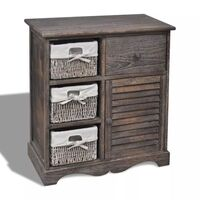 Brown Wooden Cabinet w/ 3 Woven Basket Drawers