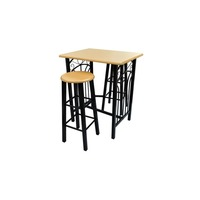 Steel MDF Home Bar Table & 2 Stools Set in Black