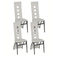 4x White Faux Leather Dining Chairs w/ Steel Frame