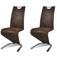 2x U-Shape Cantilever Chair in Brown Faux Leather