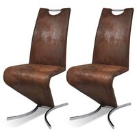 2x Z Faux Leather Cantilever Dining Chairs in Brown
