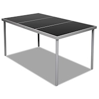 Steel Outdoor Dining Table w/ Black Glass Top 150cm