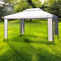 Outdoor Portable Gazebo Canopy w/ Double Roof 3x4m