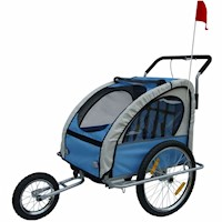 2 in 1 Kids Bike Trailer Jogger Stroller in Blue