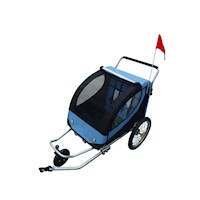 2 in 1 Kids Bike Trailer or Jogger in Blue & Black