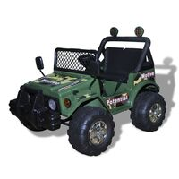 Kids Electric Ride On Car with 2 Seats Army Green