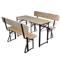 Foldable Outdoor Dining Table and Benches Set 3pc