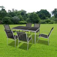 Outdoor Dining Table with 6 Black Textilene Chairs