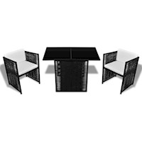 Outdoor Dining Set for 2 in Black Rattan Wicker 3pc